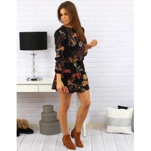 Dámské černé šaty nad kolena volného střihu s barevními květinami a šňůrkou na pase