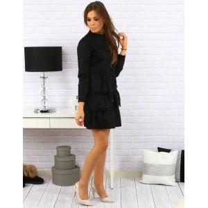 Elegantní dámské černé šaty nad kolena s volánkovou sukní a zapínáním na knoflíky