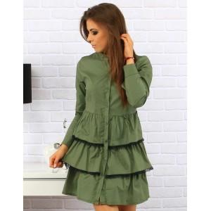 Zelené dámské elegantní šaty na knoflíkové zapínání nad kolena s volánkovou sukní a bílou krajkou