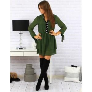 Dámské zelené šaty nad kolena se stříbrnými kamínky a šněrováním na rukávech