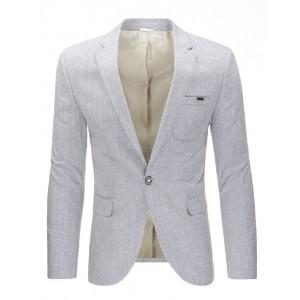 Elegantní světle šedé bavlněné pánské sako s kapsami a knoflíkem