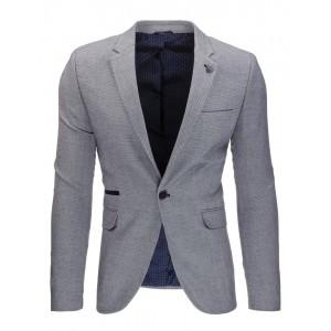 Elegantní tmavě šedé pánské sako s kapsami a nášivkami na loktech