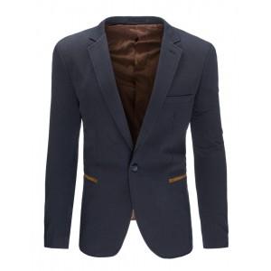 Formální tmavě šedé pánské sako slim fit s hnědými loketními nášivkami