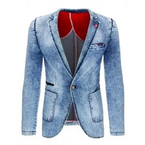Rifľové pánské sako v modré barvě s kapsami a knoflíkem