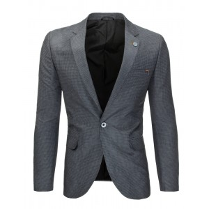 Formální slim fit pánské sako v šedé barvě s jemným vzorem
