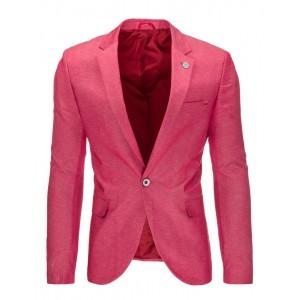 Růžové pánské slim fit sako s kapsami a ozdobním knoflíkem