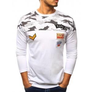 Bílé pánské tričko v army stylu s dlouhým rukávem a nášivkami