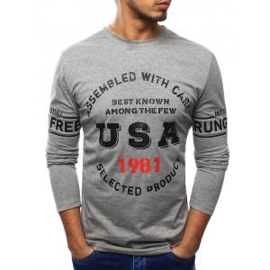 Pánské tričko šedé barvy s dlouhým rukávem a barevným potiskem