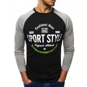 Sportovní pánské tričko černé barvy s dlouhým rukávem a nápisem