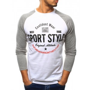 Bílé pánské trička s dlouhým rukávem šedé barvy