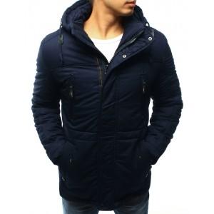 Prošívaná pánská bunda na zimu s kapucí a kapsami v tmavě modré barvě