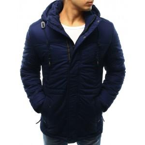 Prodloužená pánská bunda na zimu s kapucí a stahováním na pásu v modré barvě