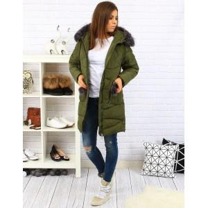 Tmavě zelené dámské zateplené bundy na zimu s kožešinou a kapsami na zip
