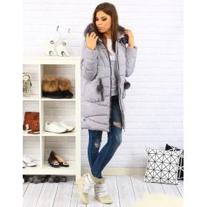 Šedé dámské zimní bundy s odnímatelnou kožešinou na kapuci