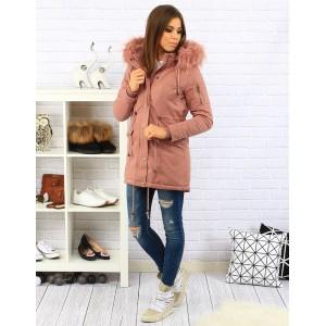 Dlouhá elegantní dámská větrovka v růžové barvě s kapucí a kožešinou