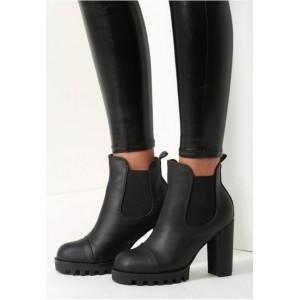 Dámské elegantní černé kožené boty na zimu na vysokém tlustém podpatku