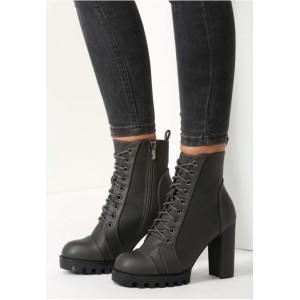 Moderní dámské kotníkové boty na vysokém podpatku v tmavě šedé barvě se šněrováním