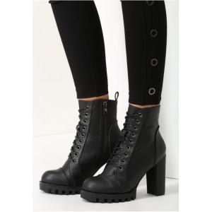 Elegantní dámské kotníkové kozačky na zimu se šněrováním v černé barvě na vysokém podpatku