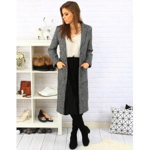 Dlouhý dámský károvaný kabát s kapsami černé barvy