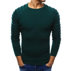 Stylový pánský pletený svetr tmavě zelené barvy