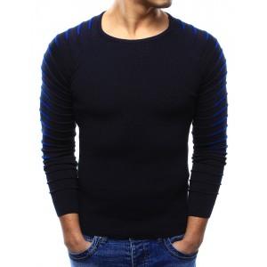 Pohodlný tmavě modrý pánský svetr s výstřihem ve tvaru U