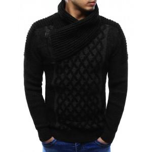 Elegantní pánský pletený svetr černé barvy s límcem