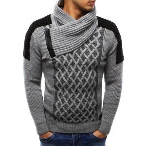 Moderní pánský pletený svetr šedé barvy s límcem