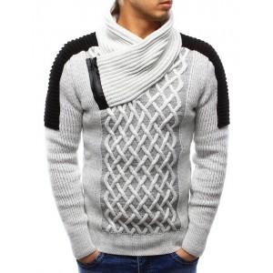 Pletený pánský svetr bílé barvy s límcem a zipem