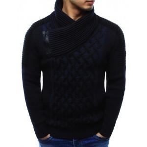Moderní pánský bavlněný svetr tmavě modré barvy s límcem