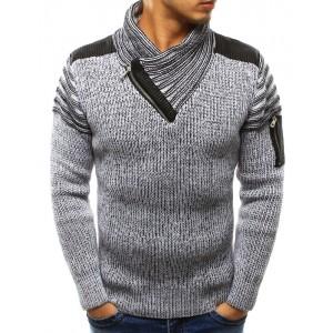 Bílý pánský bavlněný svetr s elegantním límcem a zipem na rukávu