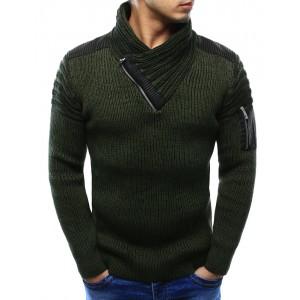 Pánský svetr s elegantním límcem a zipem na rukávu v khaki barvě