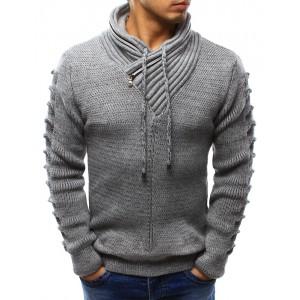 Pletený pánský svetr šedé barvy s límcem a dlouhými šňůrkami