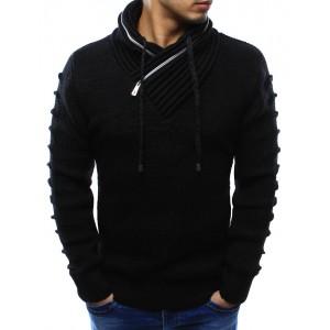 Černé pánské pletené svetry s límcem a dlouhými šňůrkami