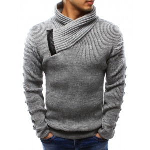 Hrubý pánský pletený svetr šedé barvy s límcem