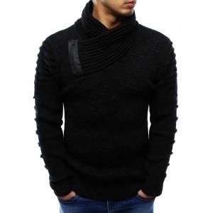 Bavlněné pánské pulovry černé barvy s límcem na zimu