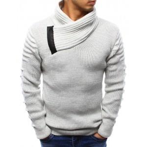 Pánský bavlněný svetr bílé barvy s vysokým límcem