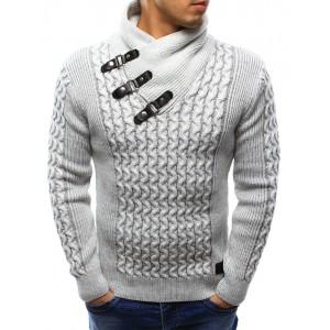 Bílý pletený svetr pro pány s vysokým límcem a přezkami