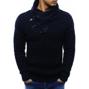 Tmavě modré pánské bavlněné svetry s límcem a dekoračními přezkami