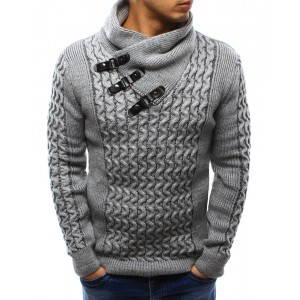 Hrubý pletený pánský svetr šedé barvy na zimu