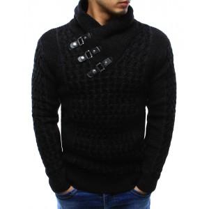 Elegantní teplé pánské pulovry černé barvy s dekoračními přezkami