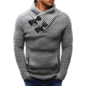 Bavlněný pánský pletený svetr šedé barvy s límcem a kapsou