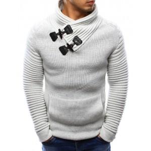 Moderní pánský svetr bílé barvy s klokaní kapsou a límcem