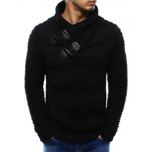 Černé pánské bavlněné svetry s vysokým límcem a klokaní kapsou