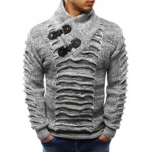 Hrubý prošívaný pánský svetr bílé barvy s vysokým límcem