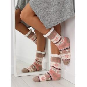 Hřejivé dámské ponožky béžové barvy s vánočním motivem