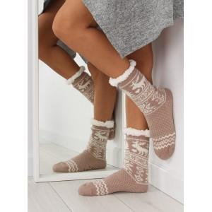 Elegantní dámské hřejivé ponožky béžové barvy se severským vzorem