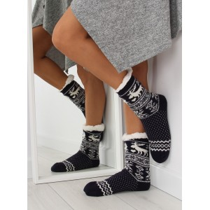 Tmavě modré dámské hřejivé ponožky se škadinávskym vzorem