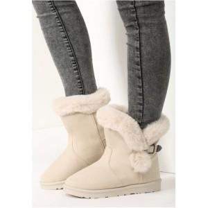 Zateplené dámské sněhule béžové barvy s přezkou a ozdobnou kožešinou