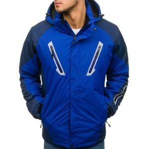 Modrá zateplená pánská lyžařská bunda na zip s kapsami a kapucí