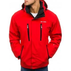 Červená zateplená pánská zimní bunda na lyžování s kapsami